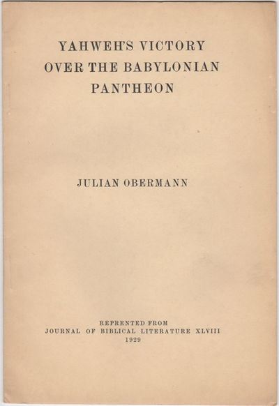 : , 1929. Offprint. Stapled paper wrappers. Near fine, wrappers lightly soiled.. pp. 8vo. Reprinted ...
