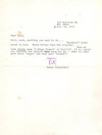 TLS From noted New York School poet, scholar, art critic Peter Schjedahl to Erje Ayden by Peter Schjeldahl - Signed - 1972 - from Little Sages Books, ABAA (SKU: 1997)
