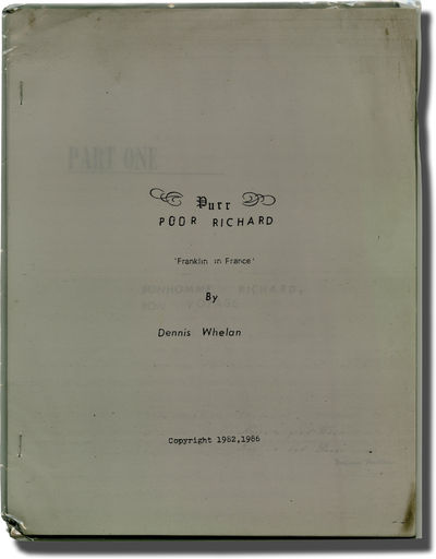 N.p.: N.p., 1986. Treatment script for an unproduced film. The true story of Benjamin Franklin trave...