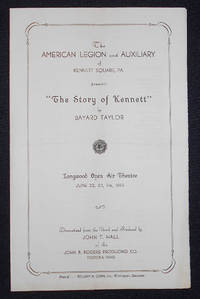 image of Program from a production of The Story of Kennett by Bayard Taylor presented at Longwood Gardens in 1933 with a ticket from the first performance