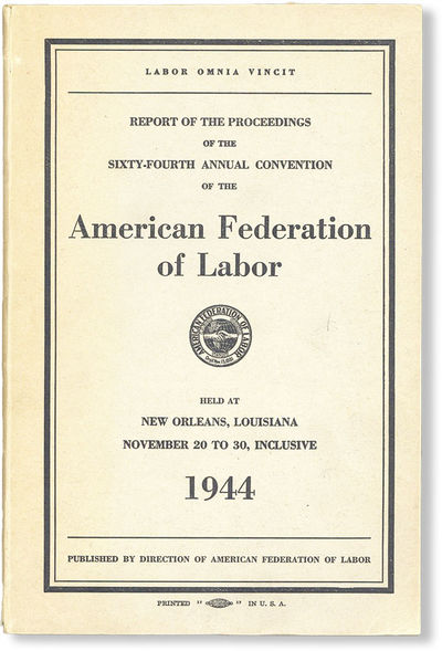 Washington DC: Ransdell Inc, 1944. First Edition. Octavo (23cm.); publisher's grey wrappers printed ...