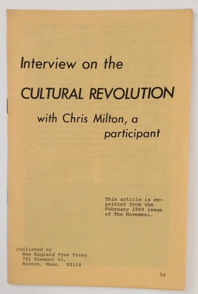Boston: New England Free Press, 1969. 7p., 5.5 x 8 inch pamphlet, printed on yellow paper, very good...