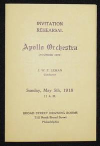 image of Apollo Orchestra program -- Conductor J. W. F. Leman with soprano Bertha Hirshberg