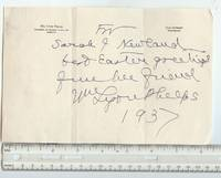 image of Autographed Letter, 1937 by Phelps, William Lyon, American Author