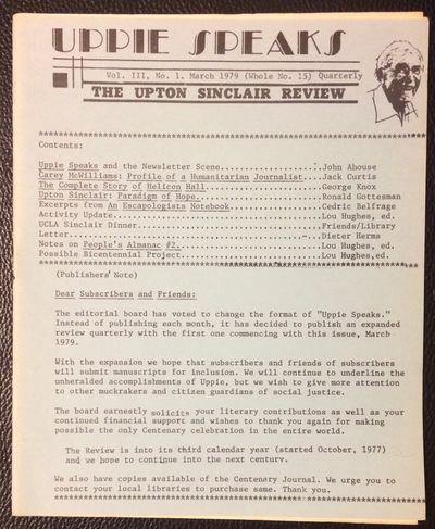 Altadena, CA: Robert O. Hahn, 1979. 20p., staplebound booklet format, very good; 7x8.5 inches. Inclu...