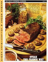 image of McCall's Cooking School Recipe Card: Meat 13 - Steak With Marrow Sauce And  Stuffed Mushrooms : Replacement McCall's Recipage or Recipe Card For  3-Ring Binders : McCall's Cooking School Cookbook Series