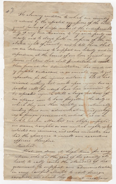 , 1810. Very good, folded, few edge tears, one obscuring a small portion of text, light soiling & in...