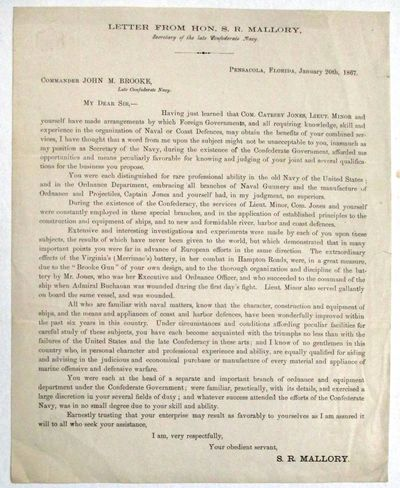 Pensacola, 1867. One printed page, with integral blank leaf. 4to, signed in type at the end by Mallo...
