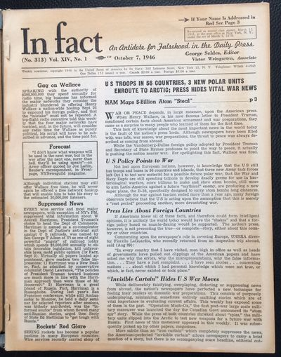 New York: In Fact, Inc, 1946. All issues of the newsletter from vol. 16, spanning the period from Oc...