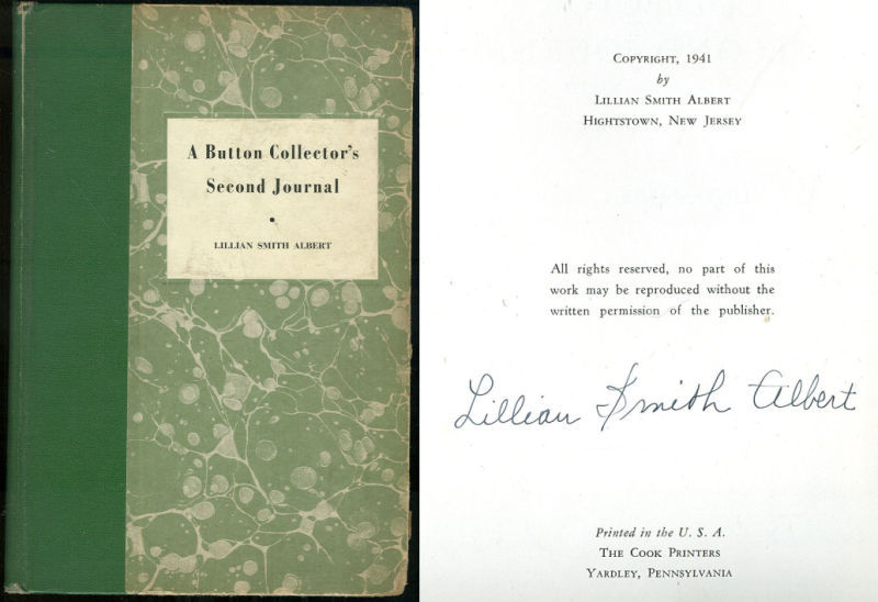 BUTTON COLLECTOR'S SECOND JOURNAL, Albert, Lillian Smith