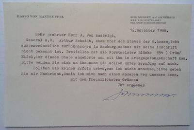 Diessen, 1966. unbound. 1 page on personal letterhead, 5.5 x 8.25 inches, Diessen, November 12, 1966...