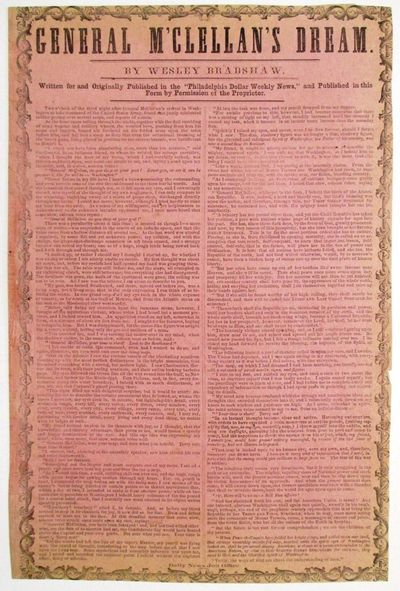: Daily News Job Office, 1861. Broadside, printed in two columns with ornamental border, on pink pap...