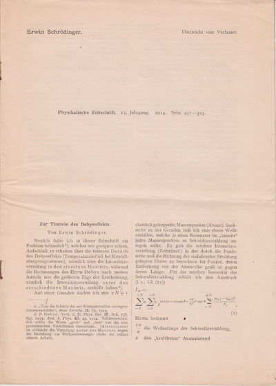Leipzig: Physikalischen Zeitschrift, 1914. OFFPRINT.. Original printed wrappers. Very good.. 4to. Th...