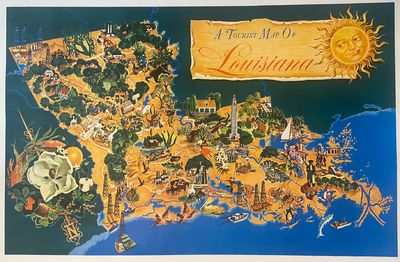1948. Pictorial map, offset lithograph mounted on linen. Image measures 21 1/8