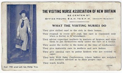 Visiting Nurse Association. Very good. Undated (c. 1920s) trade/advertising card for the Visting Nur...