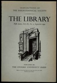 image of The Library 5th Series Vol IX No. 3 September 1954: Transactions of the Bibliographical Society