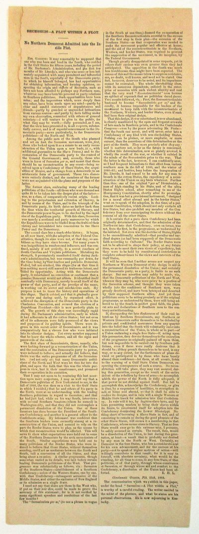. Else Very Good. This rare broadside is an incisive analysis of the political dynamics of Secession...