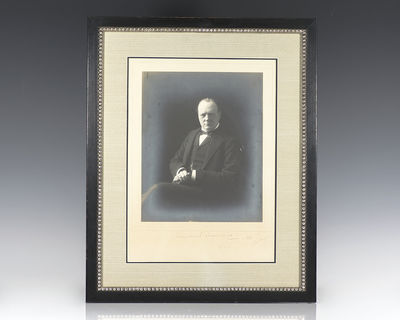 1905. Portrait of the seated Winston Churchill taken in 1920 by Edward Russell of Russell and Sons, ...