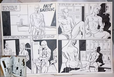 no place: the artist, 1994. Two Bristol Boards, 11.5x15 inches, with original inked cartoons in 7 pa...