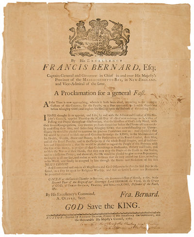 Boston: Richard Draper, 1767. Letterpress broadside, 15 1/2 x 13 inches. Woodcut royal arms, signed ...