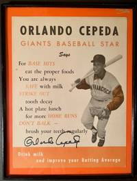 """Signed Mid 1960s Orlando Cepeda Poster Promoting Milk (""""Drink milk and improve your Batting Average"""")"""