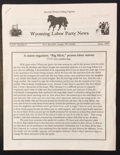 Casper, WY: the newsletter, 1999. 8p., 8.5x11 inch sheets stapled at corner, very good.