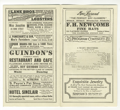 No binding. Very Good. Ca. 219 x 124 mm. Dated March 29, 1915. Includes performances of Al. Shean's ...