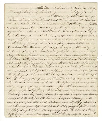Andover, : June 24 (crossed out), July 9th, 1829. 4to, previous folds, address on vesro of integral ...