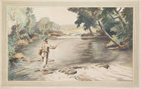 After a Big One [Trout-fishing scene of an angler casting into a shaded pool]
