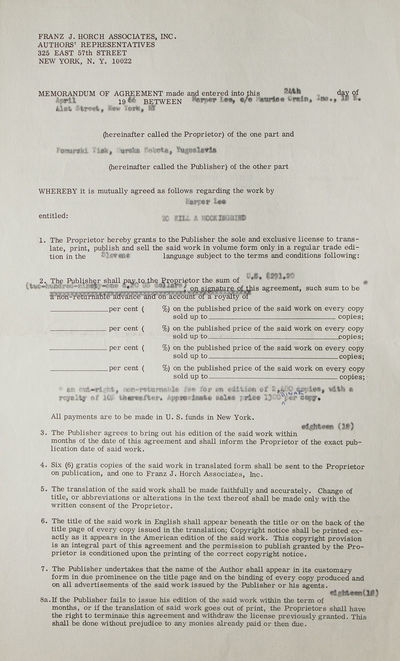 New York, 1966. 2 pp recto and verso, printed contract completed in type carbon, countersigned by Le...