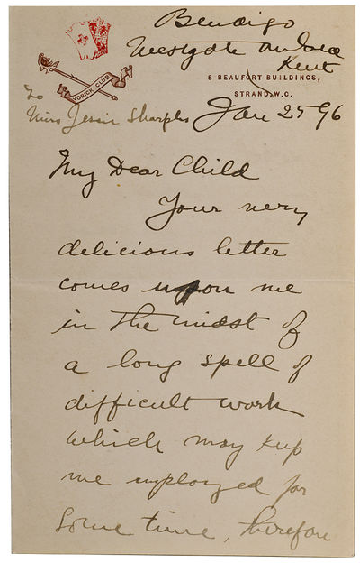 To Miss Jessie Sharples. Westgate on Sea, Kent: Jan. 25, 96. Two pages folded, on paper headed 5 Be...