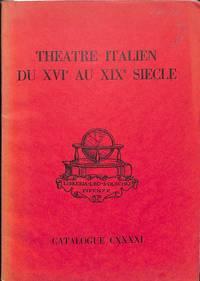 Catalogue 141/n.d.: Theatre Italien du XVIe au XIXe Siecle.