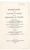 View Image 1 of 2 for A Dissertation on the Nature of Soils, and the Properties of Manure; to which is added, the Method o... Inventory #37772