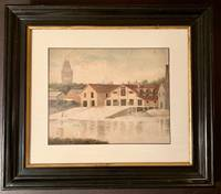 1885 Watercolor of Harvard's Original Boathouse