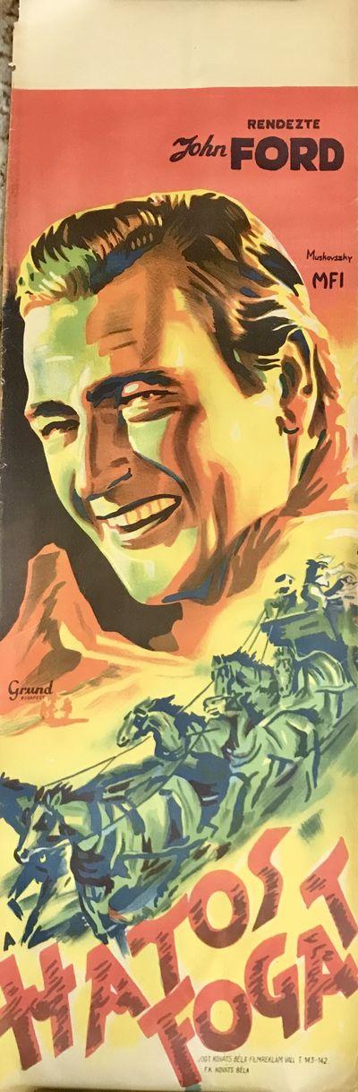Hungary, 1939. Cream paper, color printing. Very good. 95 x 31 cm. Color poster depicting John Wayne...