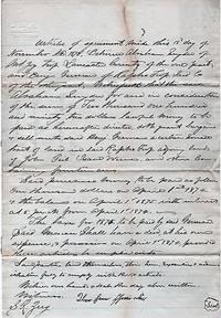 HANDWRITTEN AGREEMENT BETWEEN ABRAHAM SNYDER OF MOUNT JOY TOWNSHIP AND BENJAMIN GERMAN OF RAPHO TOWNSHIP, 15 NOVEMBER 1873