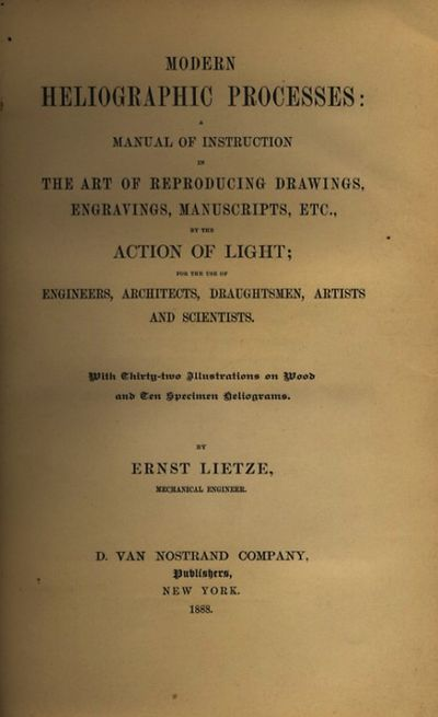 NY: D. Van Nostrand, 1888. First ed. Small 4to., viii, 143 pp., 4 pp. adverts.; 10 tipped-in