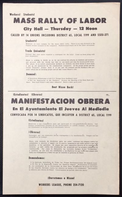 : Workers League, 1970. 8.5x14 inch handbill, bilingual, light handling. Calls for US withdrawal fro...