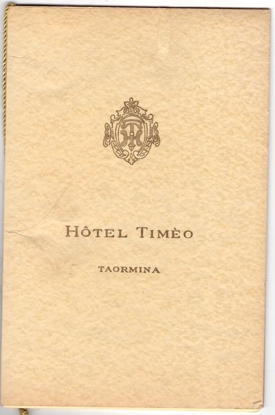 Taormina , 1978. Pamphlet. Very good. 18p. of daily specials for twelve months in laminated gilt and...