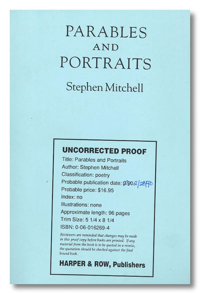 New York: Harper, 1990. Printed wrapper. Uncorrected page proofs of the first edition of the poet/tr...