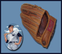 Mickey Mantle Signed Vintage Baseball Glove with Mantle image in palm of glove