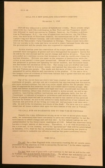 Boston: November 9th Mobilization Committee, 1968. 8.5x14 inch handbill, mimeographed text both side...