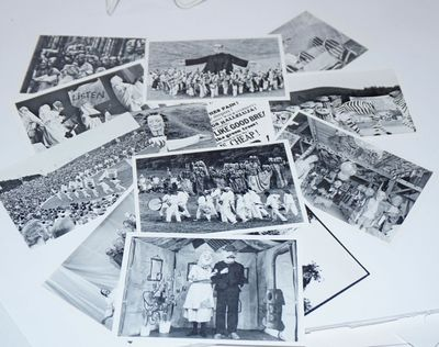 Glover, VT: Bread and Puppet, 1989. Fourteen 5.5x3.75 inch cards, 13 with a photo on one side and id...