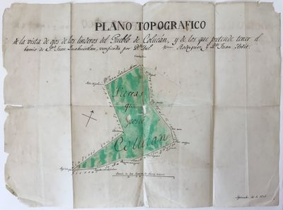 [Mexico, 1846. Good.. Manuscript map, approximately 13 x 17.25 inches. Folded; original hand color. ...