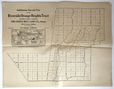 Los Angeles, 1910. Good plus.. Plat map, approximately 14 x inches. Folded, a couple of short separa...