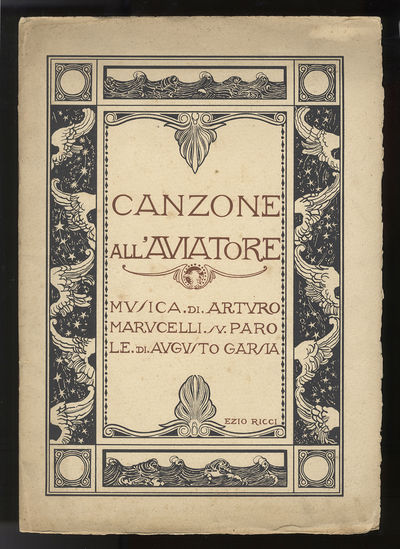 Lucca: Stab. Lippi, 1927. Folio. Original publisher's heavy ivory wrappers illustrated by Italian ar...