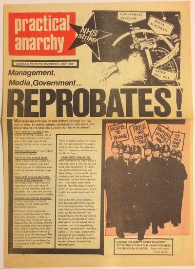 Glasgow: Practical Anarchy, 1982. 10x14 inch broadsheet, printed both sides; horizontal fold crease.