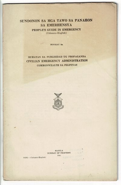 Manila: Bureau of Printing, 1941. First edition, 8vo, pp. 59, ; self wrappers; front wrapper unevenl...