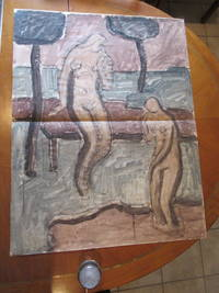 Original Tempera Painting: Study For A Modernist Mural