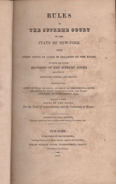 Albany: David Banks and William Gould, 1823. Fourth Revised Edition. Hardcover. Fair. Octavo. Three ...